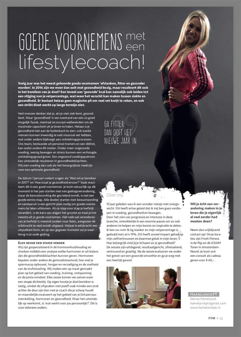 Personal coaching for Health in FORYOU Magazine